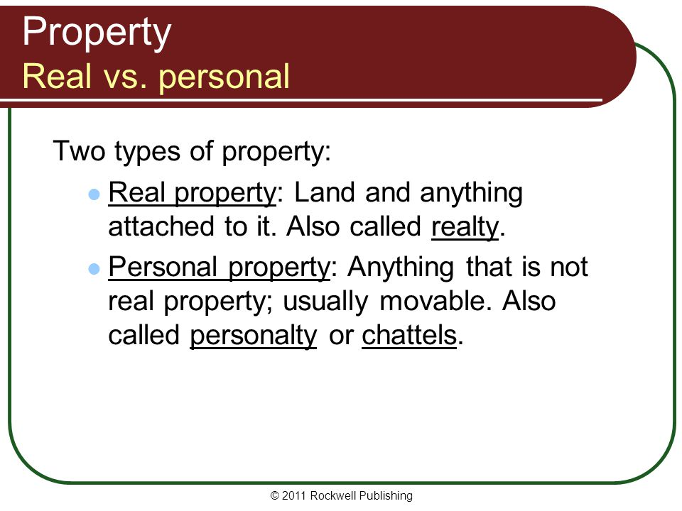 Property Real vs. personal