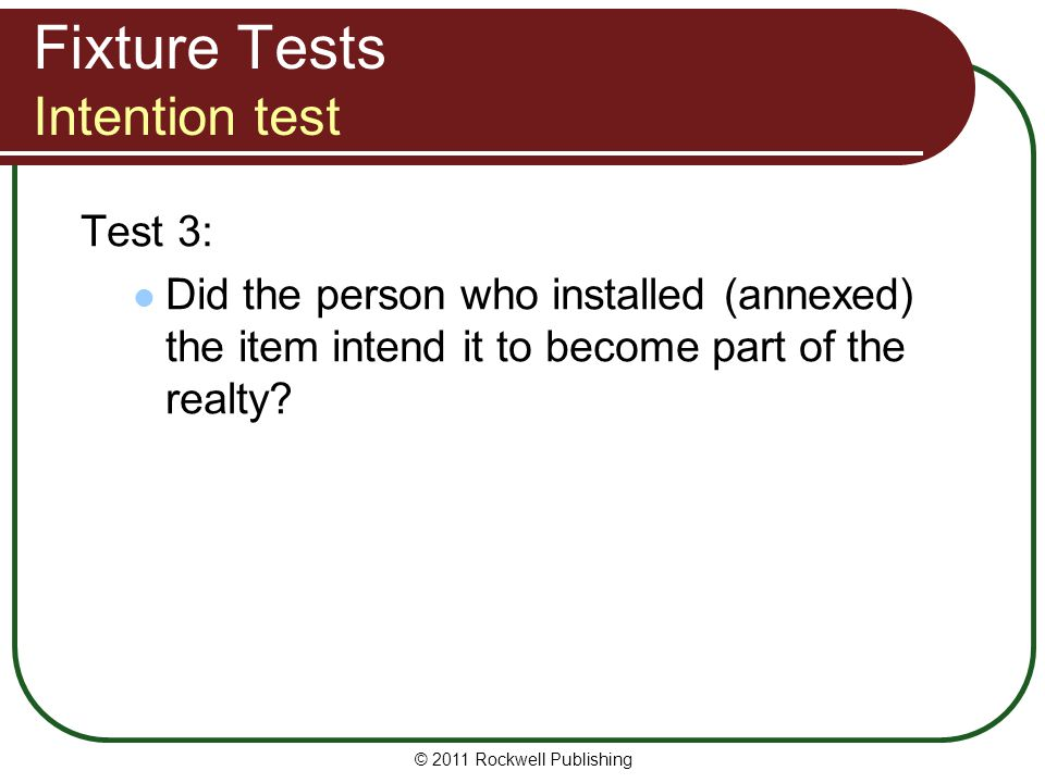 Fixture Tests Intention test