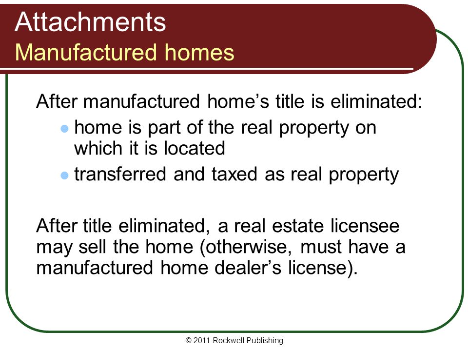 Attachments Manufactured homes