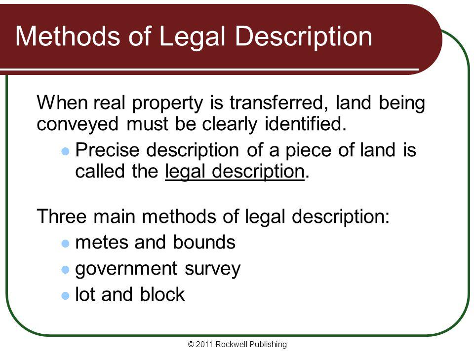 Methods of Legal Description