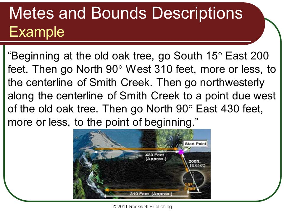 Metes and Bounds Descriptions Example