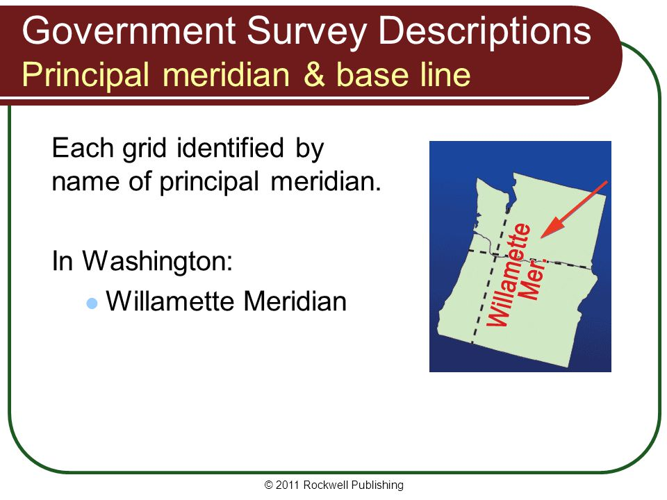 Government Survey Descriptions Principal meridian & base line