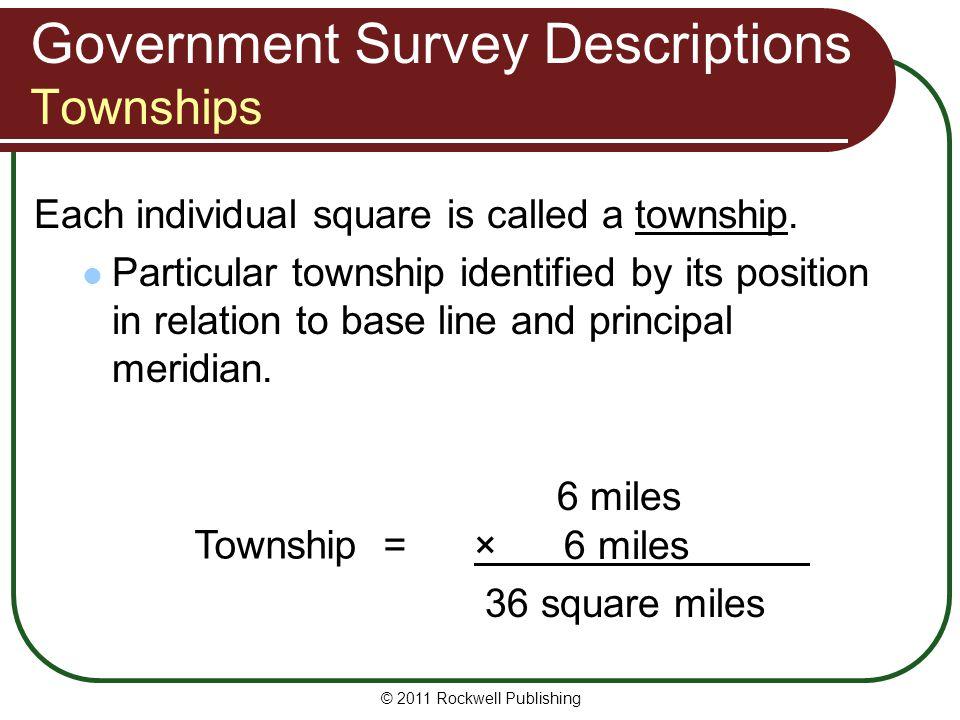 Government Survey Descriptions Townships