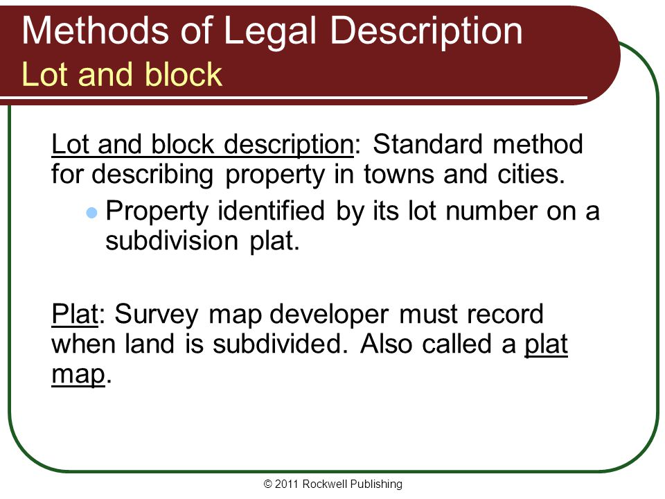 Methods of Legal Description Lot and block