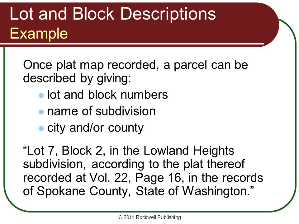 Lot and Block Descriptions Example