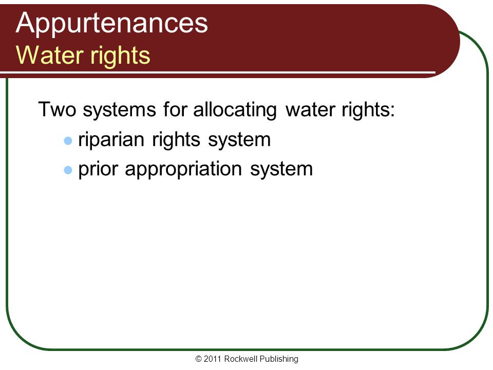 Appurtenances Water rights