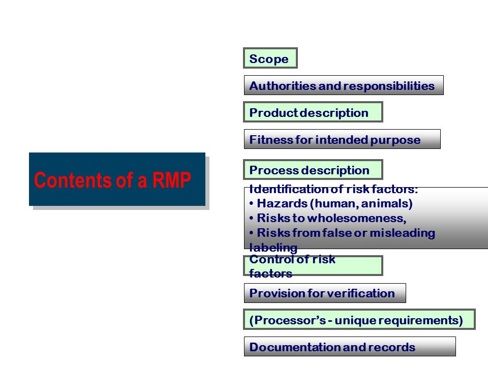 Contents of a RMP Scope Authorities and responsibilities