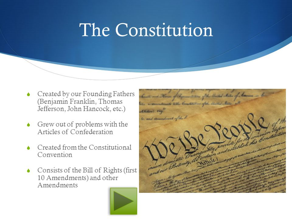 The Constitution Created by our Founding Fathers (Benjamin Franklin, Thomas Jefferson, John Hancock, etc.)