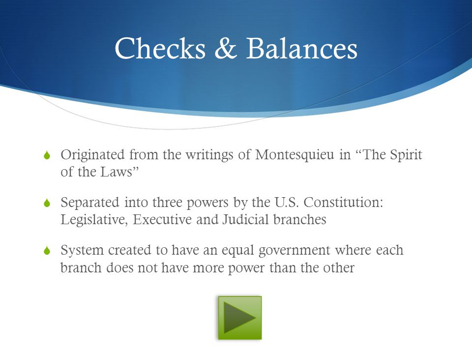 Checks & Balances Originated from the writings of Montesquieu in The Spirit of the Laws