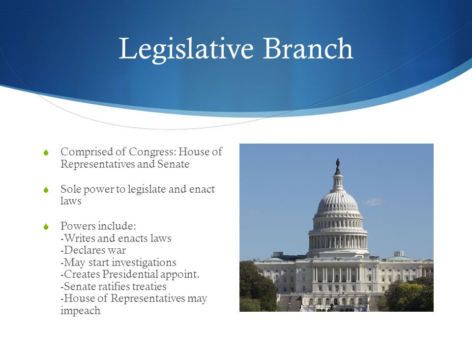 Legislative Branch Comprised of Congress: House of Representatives and Senate. Sole power to legislate and enact laws.
