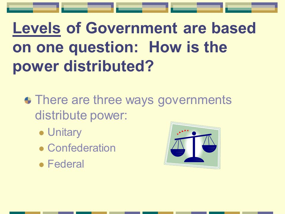 Levels of Government are based on one question: How is the power distributed