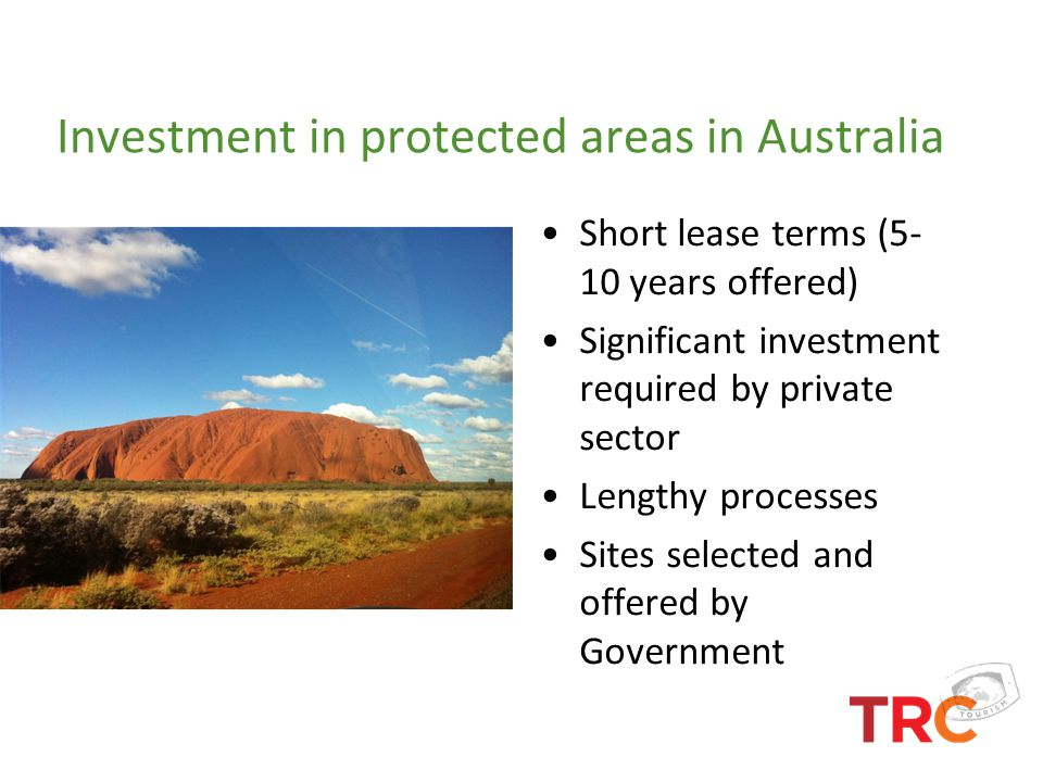Investment in protected areas in Australia