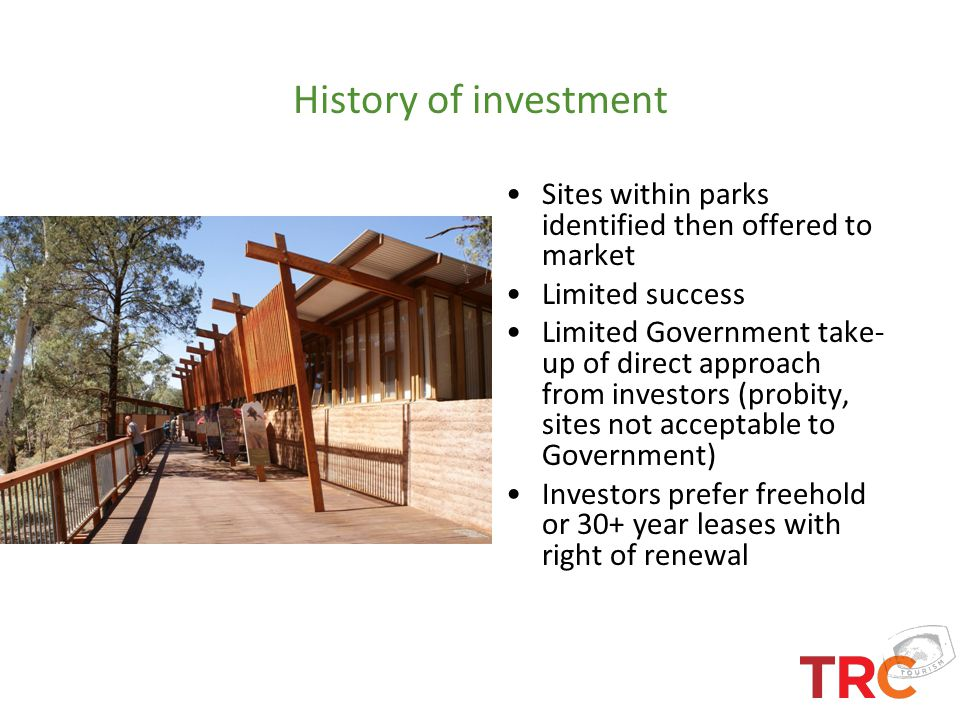 History of investment Sites within parks identified then offered to market. Limited success.
