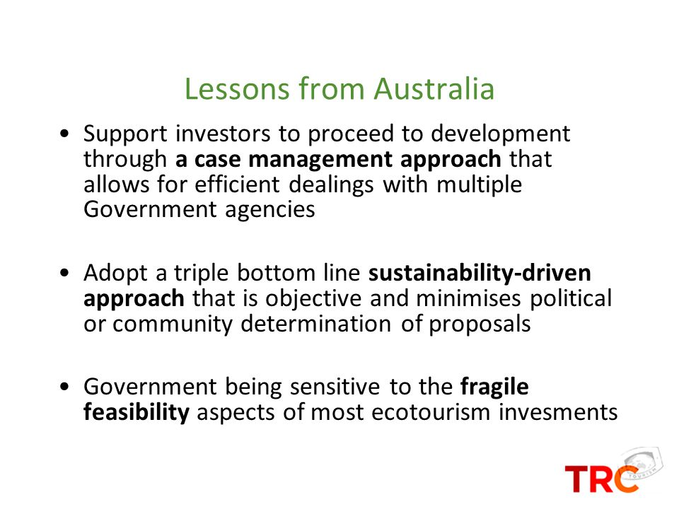 Lessons from Australia