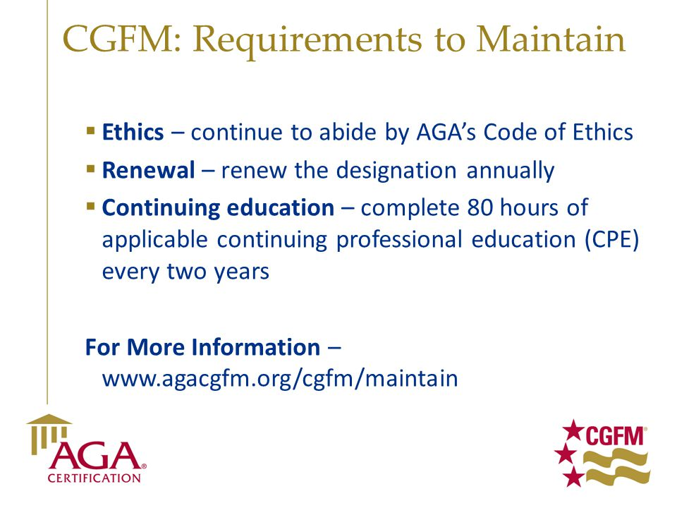 CGFM: Requirements to Maintain