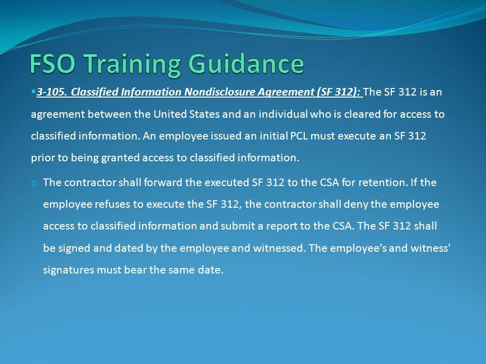 FSO Training Guidance