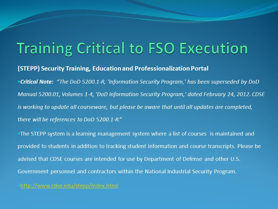 Training Critical to FSO Execution