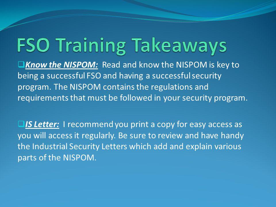 FSO Training Takeaways