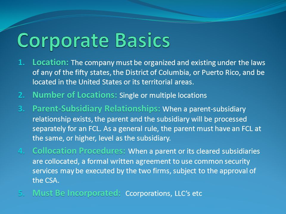 Corporate Basics