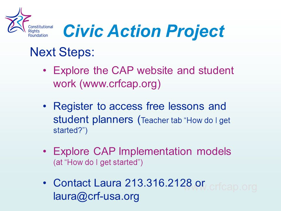 Civic Action Project Next Steps: