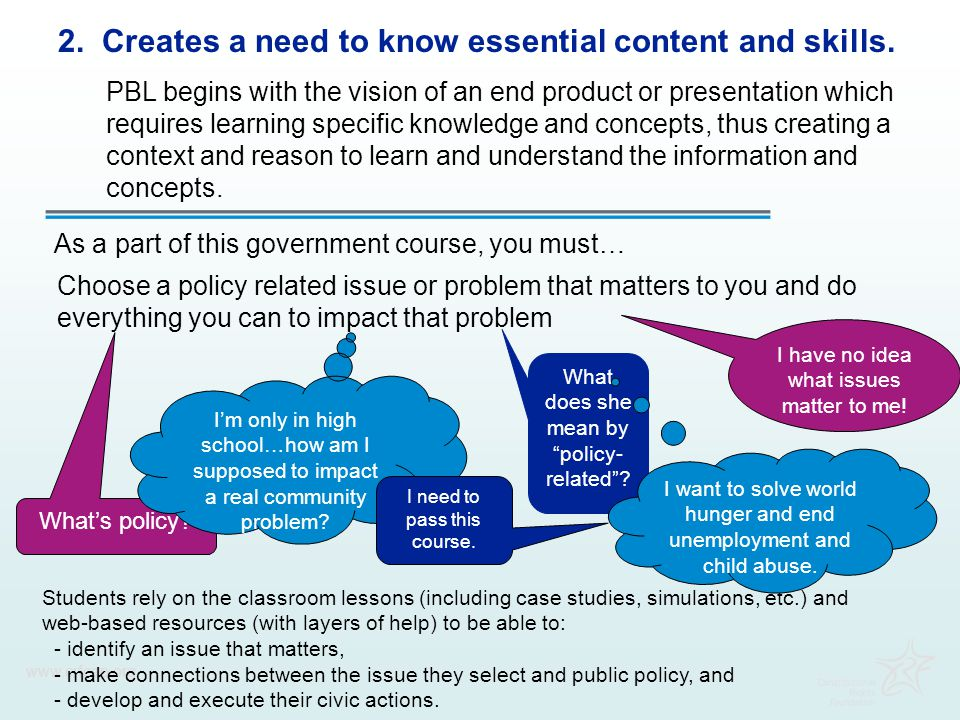 2. Creates a need to know essential content and skills.