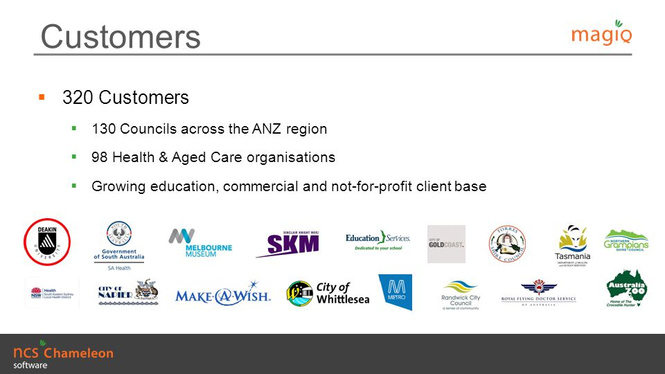 Customers 320 Customers 130 Councils across the ANZ region