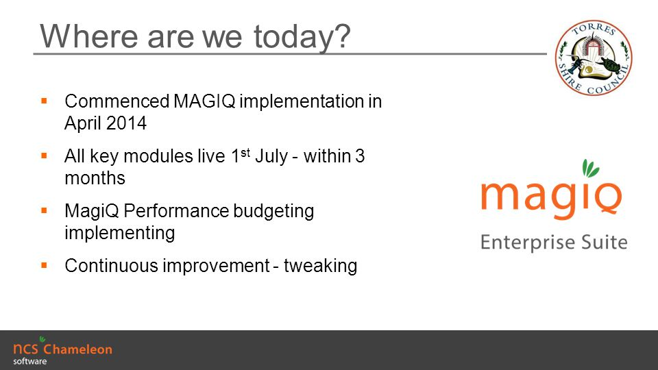 Where are we today Commenced MAGIQ implementation in April 2014
