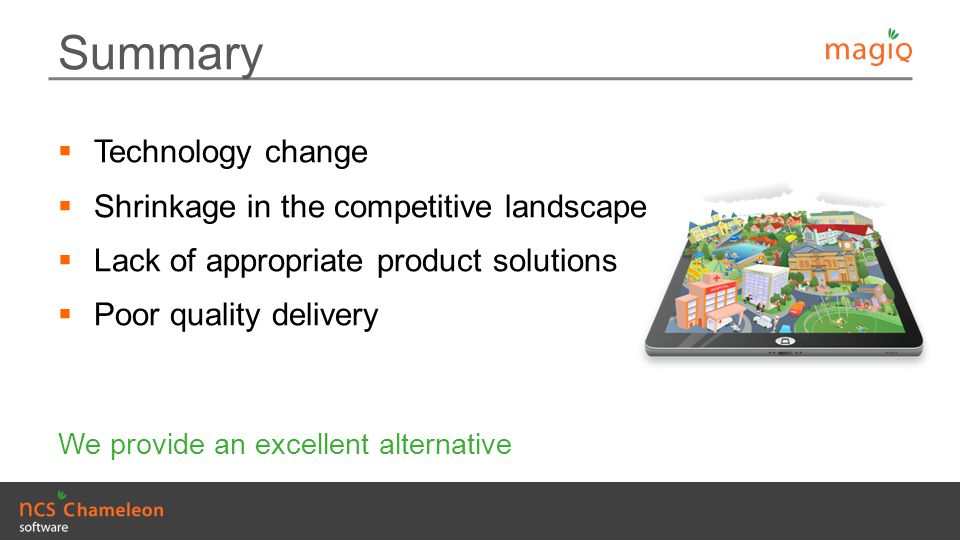 Summary Technology change Shrinkage in the competitive landscape