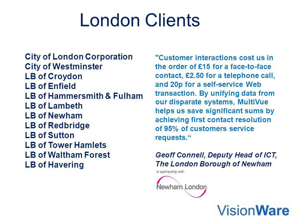 London Clients City of London Corporation City of Westminster