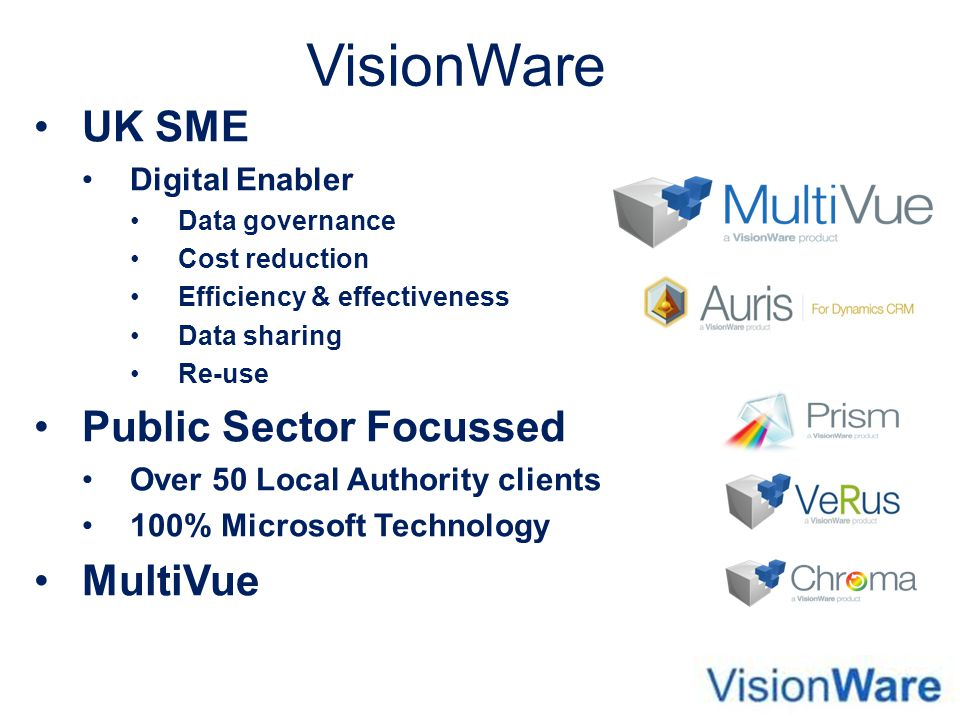 VisionWare UK SME Public Sector Focussed MultiVue Digital Enabler