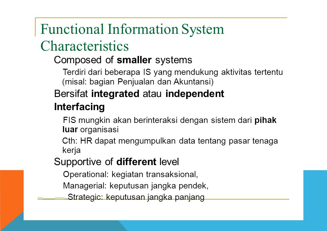 Functional Information System Characteristics