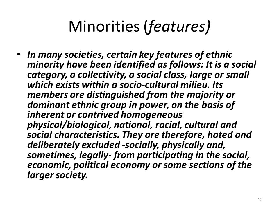 Minorities (features)