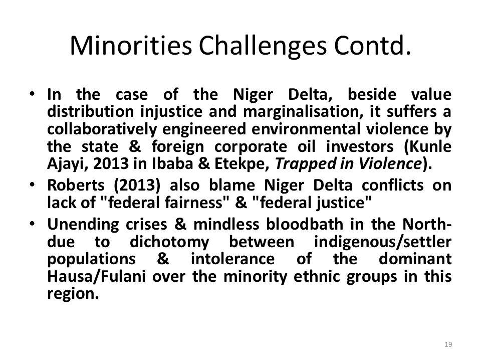 Minorities Challenges Contd.