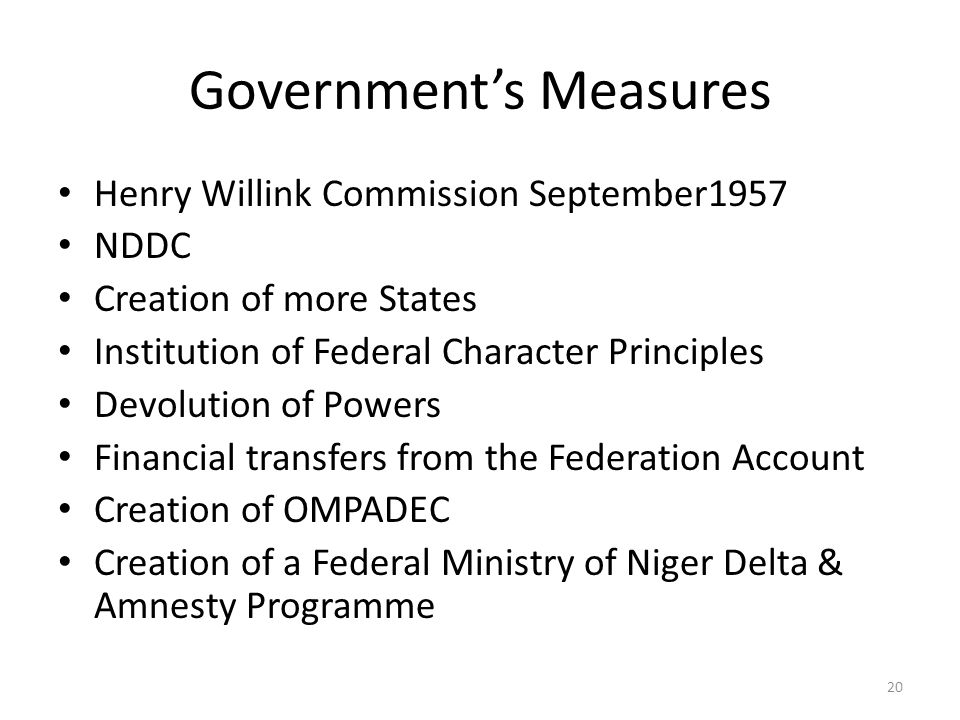 Government's Measures