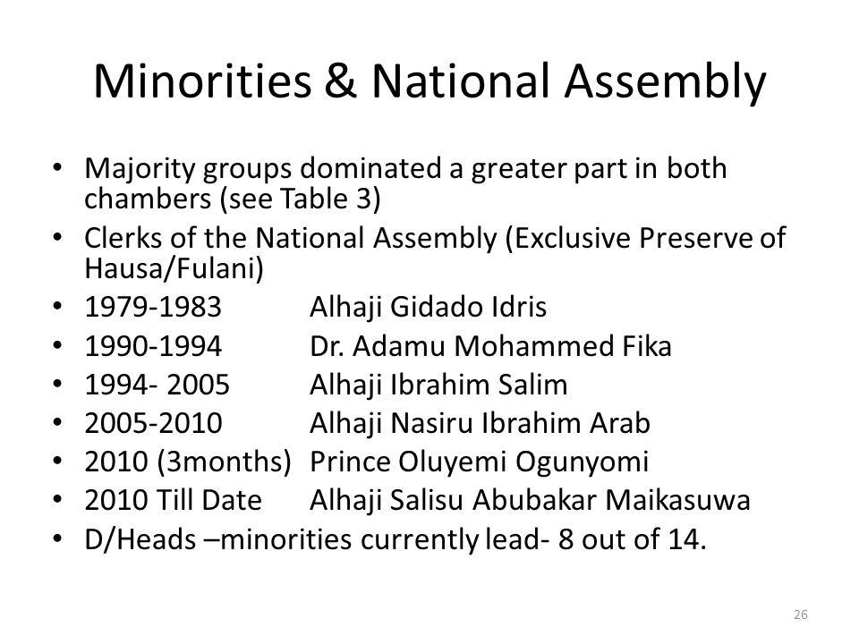 Minorities & National Assembly