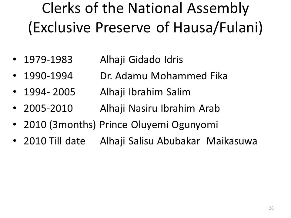 Clerks of the National Assembly (Exclusive Preserve of Hausa/Fulani)