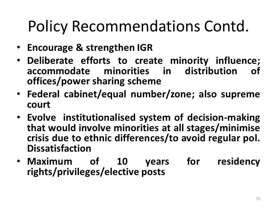 Policy Recommendations Contd.