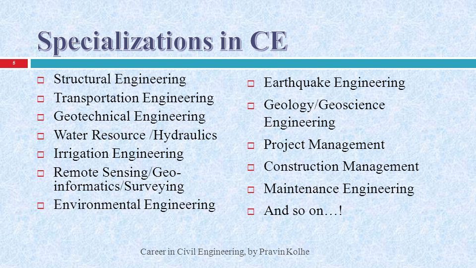 Specializations in CE Structural Engineering