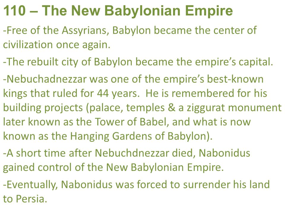 110 – The New Babylonian Empire