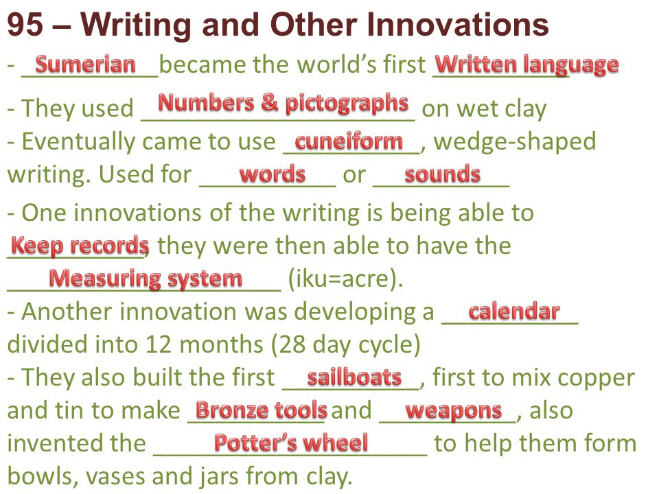 95 – Writing and Other Innovations