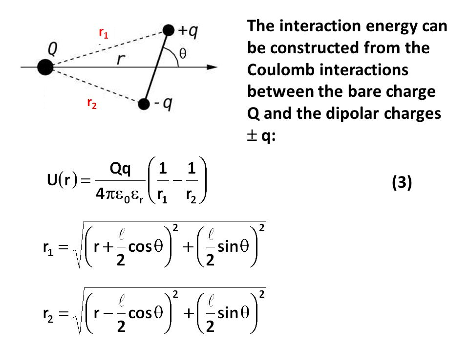 The interaction energy can be constructed from the Coulomb interactions between the bare charge Q and the dipolar charges  q: