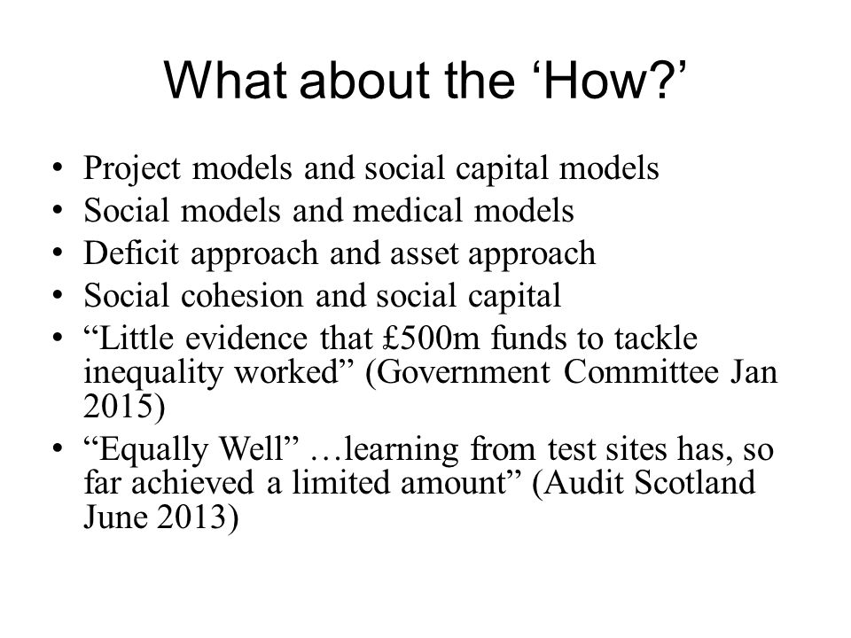 What about the 'How ' Project models and social capital models