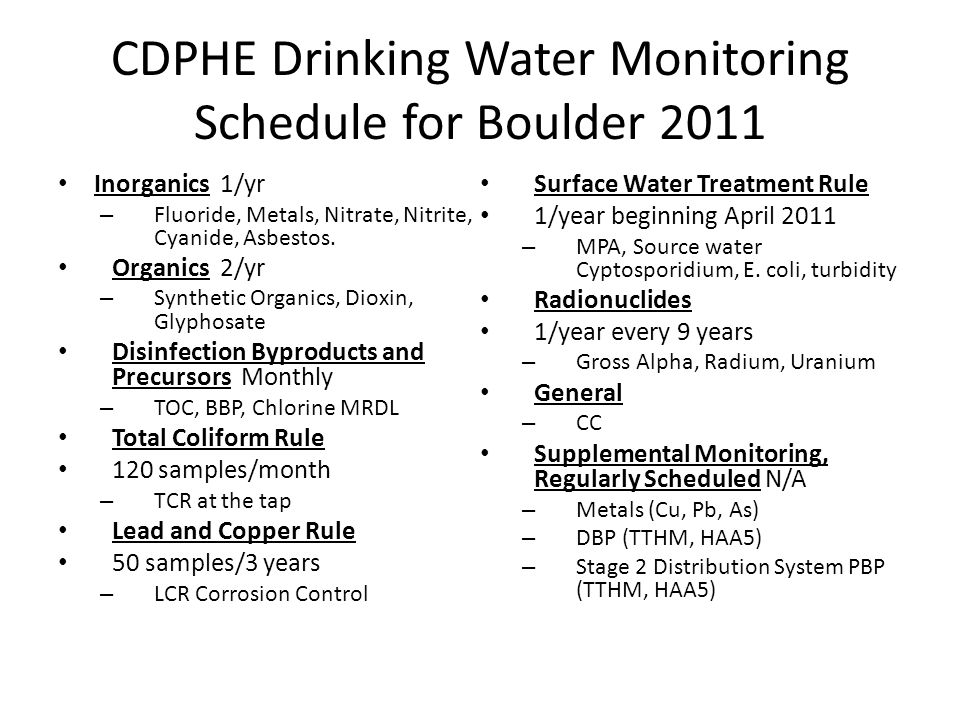 CDPHE Drinking Water Monitoring Schedule for Boulder 2011