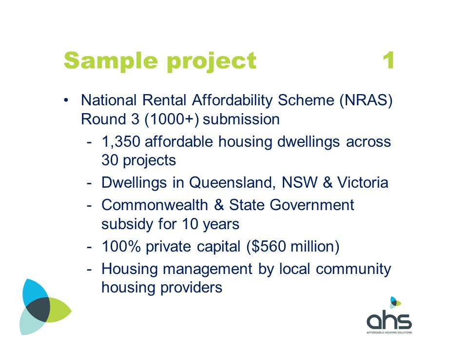Sample project 1 National Rental Affordability Scheme (NRAS) Round 3 (1000+) submission.