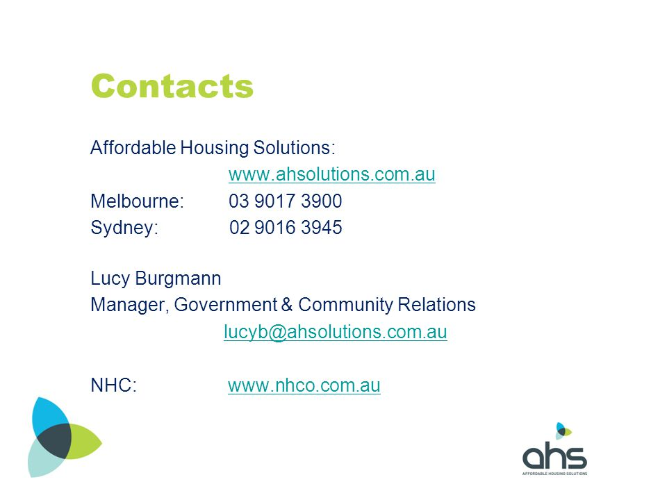 Contacts Affordable Housing Solutions: www.ahsolutions.com.au