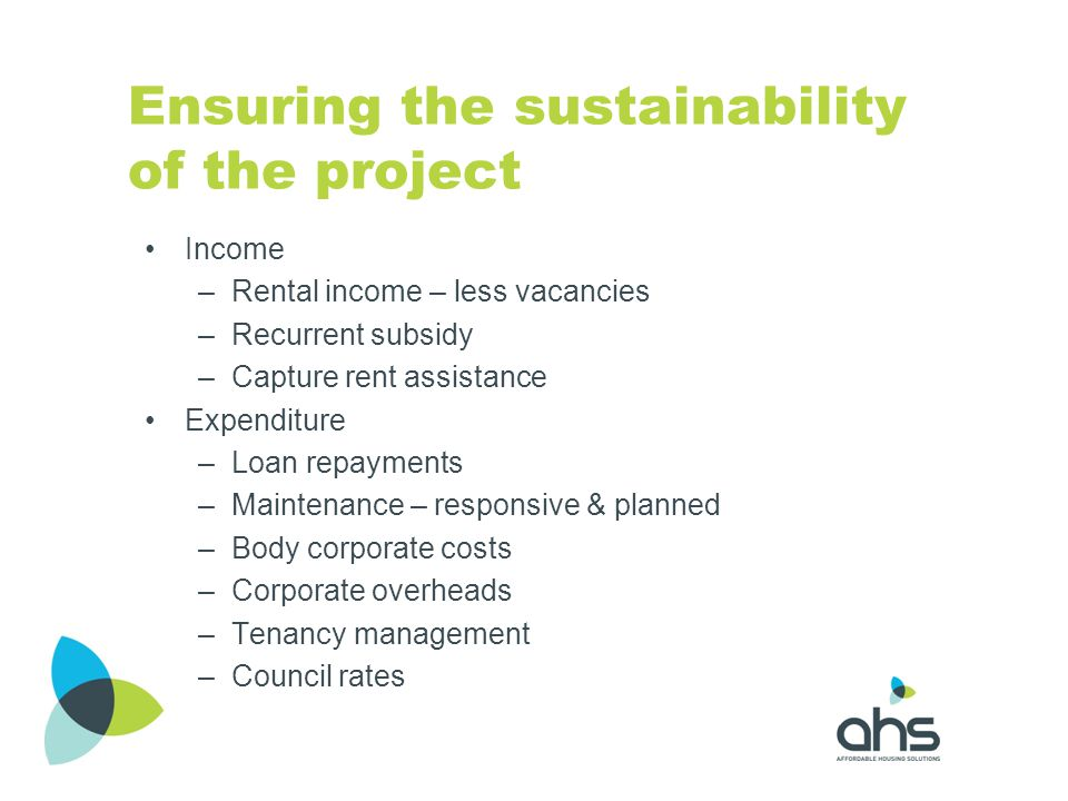 Ensuring the sustainability of the project