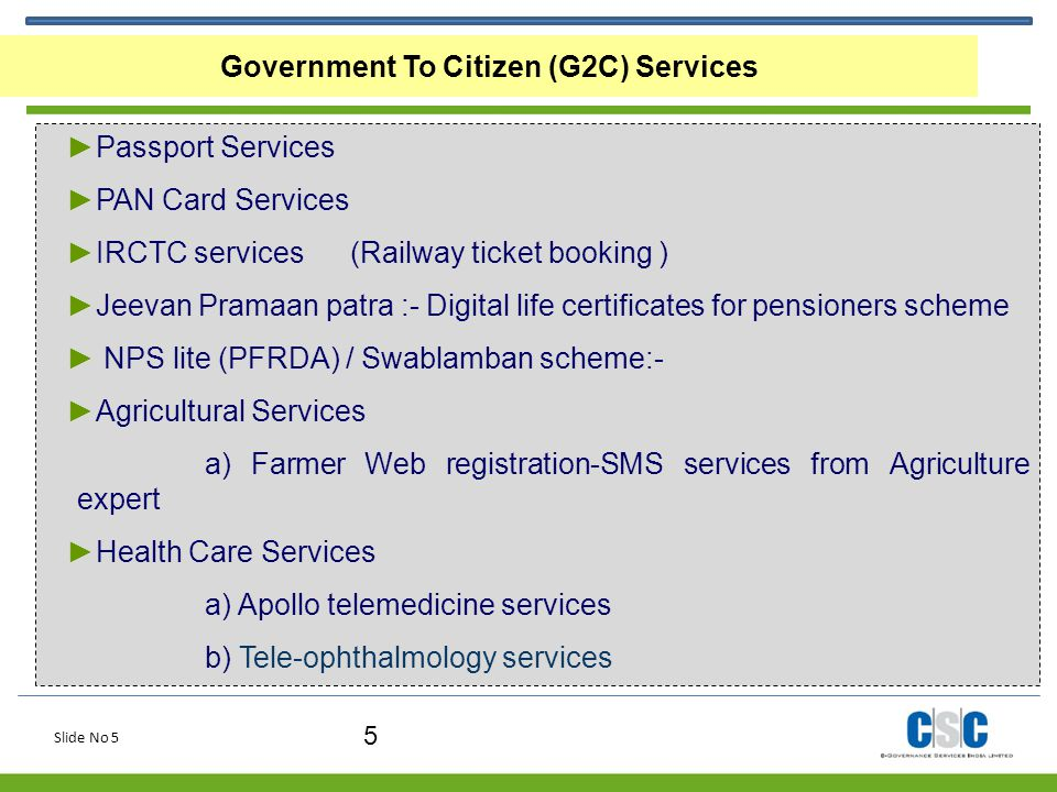 Government To Citizen (G2C) Services