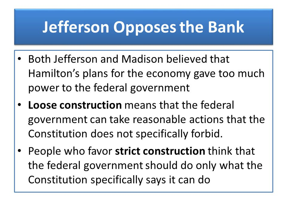 Jefferson Opposes the Bank