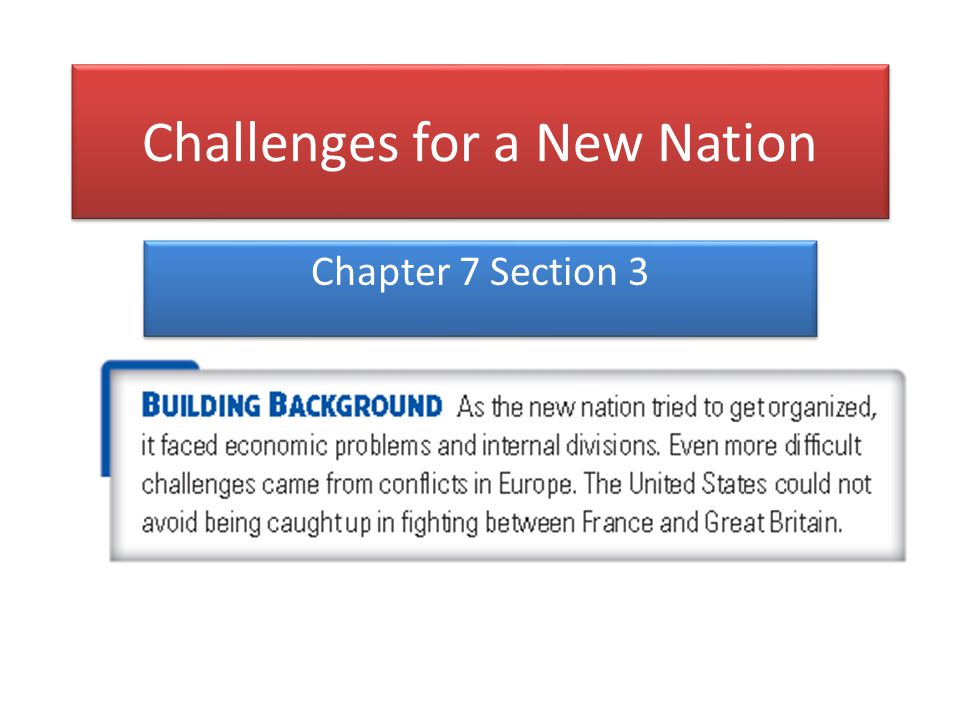 Challenges for a New Nation