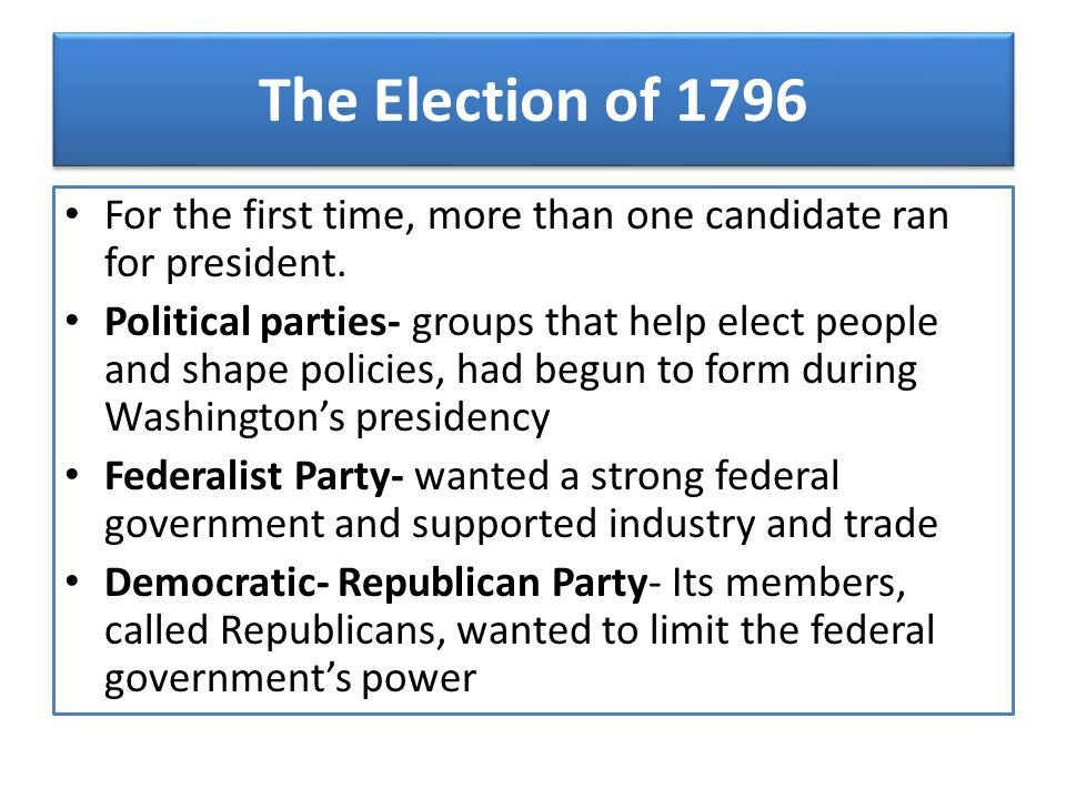 The Election of 1796 For the first time, more than one candidate ran for president.